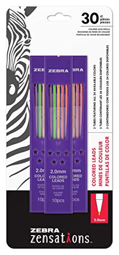 Zebra Zensations Mechanical Colored Pencil Lead Refill, 2.0mm Point Size, Assorted Colored Lead, 30-Count