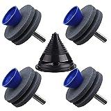 5Pcs Afilador de cortacésped de doble capa, afilador de muelas abrasivas con balanceador de cuchillas, cabezal abrasivo resistente al desgaste