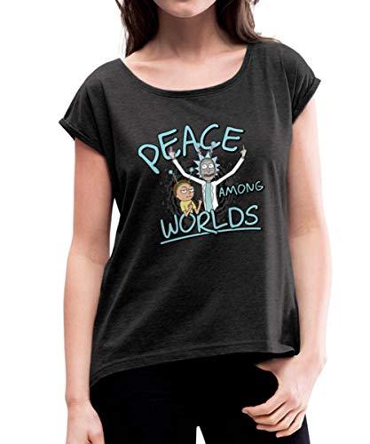 Rick & Morty Peace Among Worlds T-Shirt à Manches retroussées Femme, S, Noir chiné