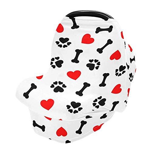 Funda de lactancia materna, diseño de huella de perro con corazón rojo para bebés y bebés, funda de cochecito, toldo para asiento de coche para niños y niñas