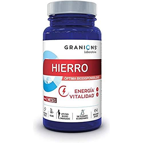 Granions Bisglicinato de Hierro 14 Mg + Vitaminas Del Grupo B, 100% Del Aporte Recomendado, Biodisponibilidad Óptima, Energía y Vitalidad, Mujeres Embarazadas, 60 Cápsulas, 1 Frasco = 2 Meses, 25 ml