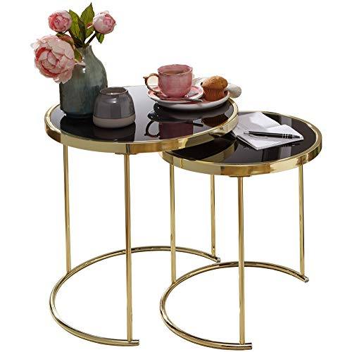Design Satztisch COR Schwarz/Gold Beistelltisch Metall/Glas Couchtisch Set aus 2 Tischen Kleiner Wohnzimmertisch Metalltisch mit Glasplatte Ablagetisch modern HxBxT:50/45 x50 / 42 x50 / 42 cm Gold