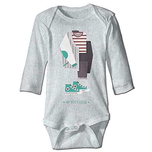 Unisex Infant Bodysuits My Boy Friend Girls Babysuit Long Sleeve Jumpsuit Sunsuit Outfit Ash