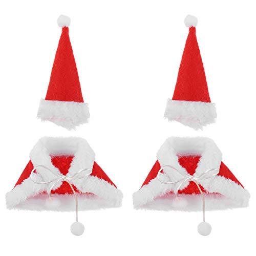 PRETYZOOOM - Set di 2 coperture per bottiglie di vino natalizie, per costume di Babbo Natale, mini cappello di Babbo Natale, decorazione per la tavola