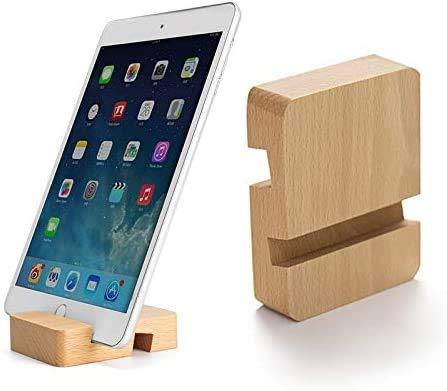 MYLB Porta Cellulare Universale da Tavolo Porta Telefono in Legno Doppia scanalatura Mobile Phone Desktop Stand