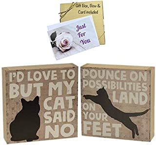 JB Products Shop Cat Wood Box Signs, Funny & Inspirational. Set of 2 6x6 Stand-up Decor Perfect for Any Cat Lover Comes Gift Boxed with Bow. Bonus Wood Cat Magnet Included