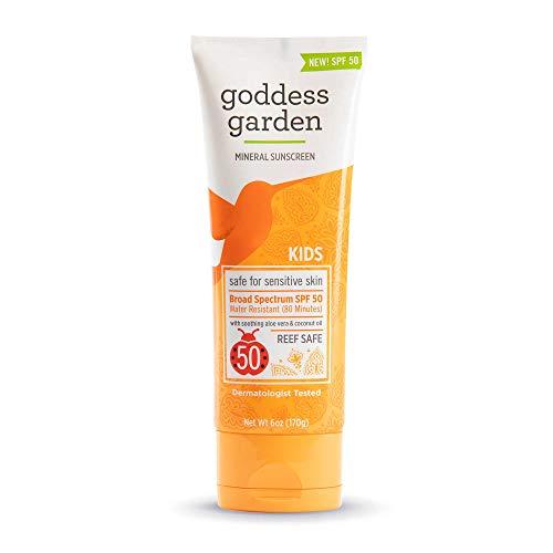 Goddess Garden - Kids SPF 50 Mineral Sunscreen Lotion - Sensitive Skin, Reef Safe, Sheer Zinc, Broad Spectrum, Water Resistant, Non-Nano, Vegan, Leaping Bunny Cruelty-Free - 6 oz Tube