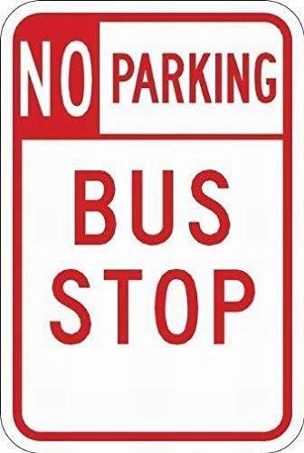 Park-Bushaltestelle 5052 Warnschilder Warnschild Warnschild für Objekte, 20 x 30 cm, Rot auf Weiß