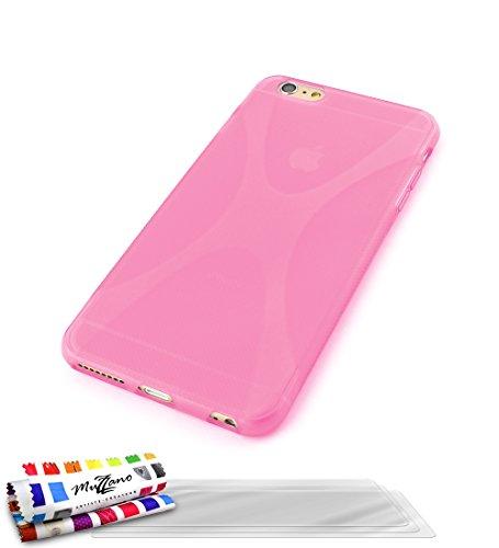 MUZZANO Original X-Cover Flessibile, con 3 pellicole Proteggi Schermo Ultra Trasparenti per Apple iPhone 6 Plus (5,5'), Colore: Rosa