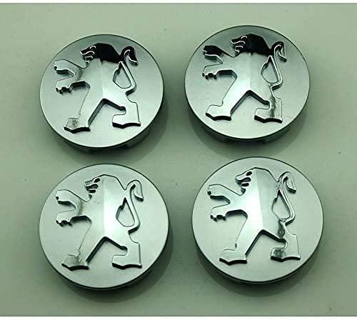4 Pcs Tapacubos De Rueda Adecuado para Peugeot 206 207 307 301 308 408 508 3008 60mm, Tapas Centrales para Llantas para Coches con El Logo Efecto 3D, Resistente Al Agua Y Al Polvo