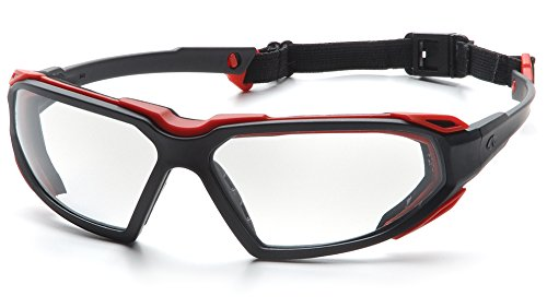 Pyramex Highlander Safety Eyewear, Black-Red Frame/Clear Anti-Fog Lens