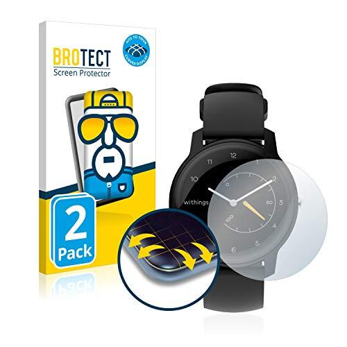 BROTECT Full-Cover Schutzfolie kompatibel mit Withings Move ECG (2 Stück) - Full-Screen Bildschirmschutz-Folie, 3D Curved, Kristall-Klar