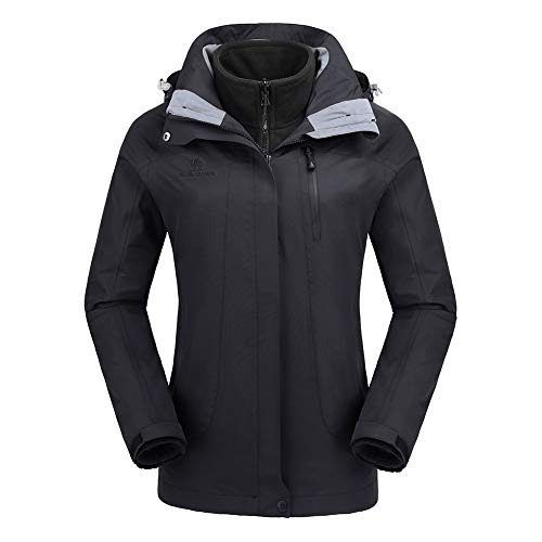 CAMEL CROWN Womens Winter Jacket 3-in-1 Winter Coats Ski Jacket Waterproof with Warm Fleece Inner and Windproof Hooded Black