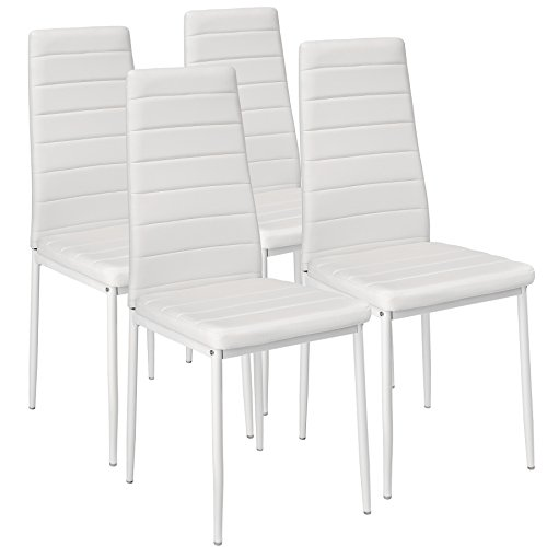 TecTake Lot de Chaise de Salle à Manger 41x45x98,5cm - diverses Couleurs et modèles au Choix - (4X Blanc | No. 401845)