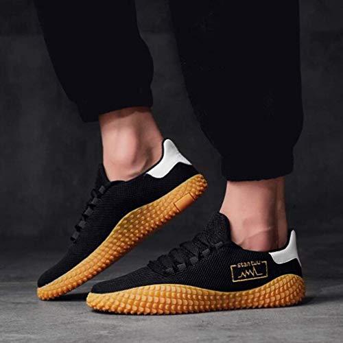 WIN&FACATORY Heren Mesh-Comfortabele Sneakers Atletische Wandelschoenen Casual Slip-On Ademend (kleur: ZWART, Maat : EU39/UK6.5/CN40) 6.5 Uk-black