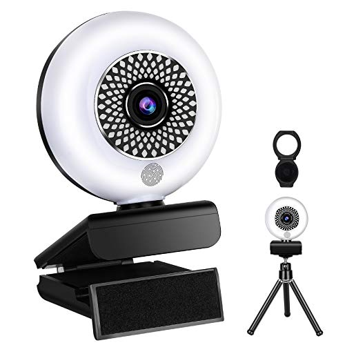 2K Streaming Webcam with Ring Light and Microphone (Support 1080P),Full HD Autofocus USB Webcam 30fps Plug and Play with Privacy Cover, Tripod for YouTube, Skype, Zoom, Twitch, and Video Calling
