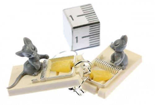 Miniblings Mausefallen Maus Ohrringe - Handmade Modeschmuck I Ratten Katzen Mäuschen - Ohrhänger Ohrschmuck versilbert