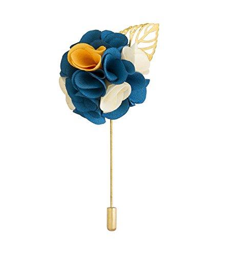 Knighthood Broche pour homme avec motif de bouquet de fleurs bleues, blanches et jaunes, pour manteau, costume, cadeau de mariage, fête, col de chemise, accessoire pour homme
