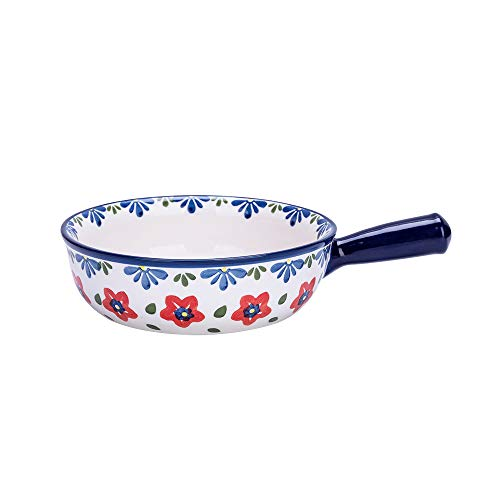 MDZF SWEET HOME Ceramic Baking Bowl with Handle French Onion Soup Bowl Roasting Lasagna Pan Round Bakeware Suitable for Oven, Red Flower