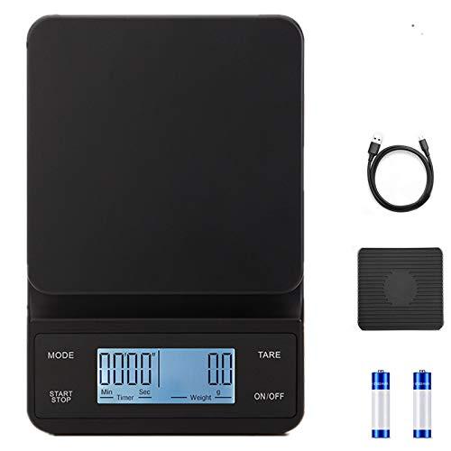 3T6B Elektronische Kaffeewaage, 3 kg/0.1 g Hochpräzise Küchenbackwaage, Tara Fuction Food Scale mit Rutschfester Matte und LCD-Timer (Weißlicht, USB-Aufladung)