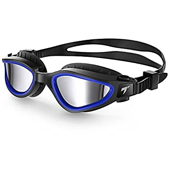 TOBA Swimming Goggles Polarized Anti-Fog Lens UV Protection Leakproof Swim Goggles for Men Women Adults  Black Blue Silver