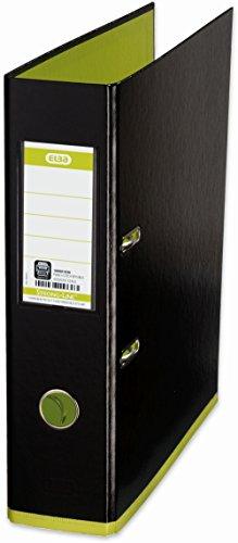 ELBA 100081036 Ordner myColour Kunststoffbezug außen und innen 8 cm breit DIN A4 zweifarbig in schwarz und hellgrün