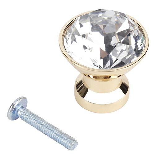 YYRL Home Dresser Knobs-4Pcs 30mm Crystal Cabinet Dresser Knobs Single Hole Armadio Drawer Knobs Pull Maniglie(Oro)