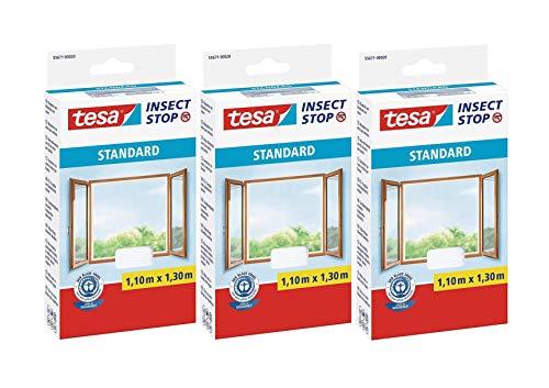 tesa Insect Stop Standard Fliegengitter für Fenster - Insektenschutz zuschneidbar - Mückenschutz ohne Bohren - 3 x Fliegen Netz weiß - 110 cm x 130 cm