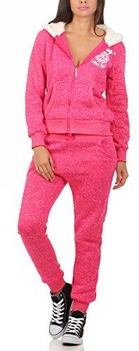 Fashion4Young 10627 Damen Jogginganzug Jacke Hose Sportanzug Fitness Trainingsanzug Wellnessanzug (XL/42, pink)