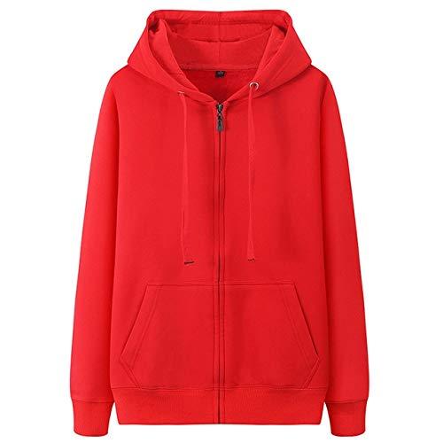 Sudaderas con capucha para hombre de otoño nuevo chaqueta de punto con capucha para hombre de color sólido con capucha para hombre casual de forro polar sudaderas con capucha (color: rojo, talla: L)