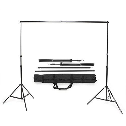 MVPOWER Soporte de Fondo 2x3m Hecho de Aleación de Aluminio, Sistema Profesional para Estudio Fotográfico, con Altura Ajustable y Bolsa de Transporte, para Foto y Vídeo