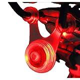 スポーク LED ライト 自転車 サイクル 用 ぶら下げ 式 防水 シリコン テール ランプ 早 点滅 遅 点滅 点灯 の 3 パターン クリーニング クロス セット (1. レッド 赤)