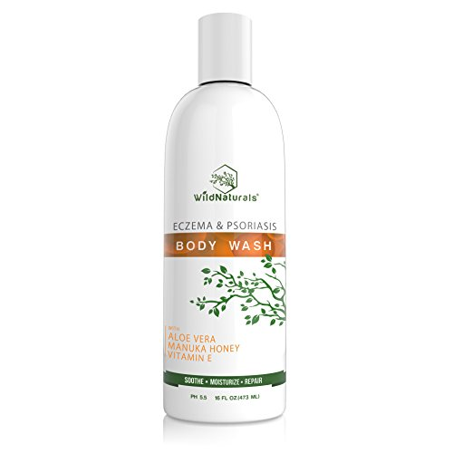 Wild Naturals Eczema Body Wash : With Manuka Honey + Aloe Vera, for Sensitive Skin, Unscented, Anti Itch Healing Psoriasis Soap, Dry Skin Relief, Moisturizing and Sulfate Free