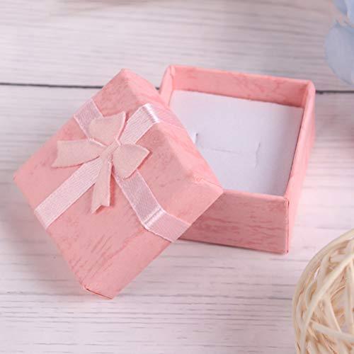 Haiabei Schmuckschatulle, Geschenkbox, für Halsketten, Ohrringe, Ringe, Papierverpackung, kleine Schmuck-Geschenk-Box, Schleife, Schmuckbox (rosa).