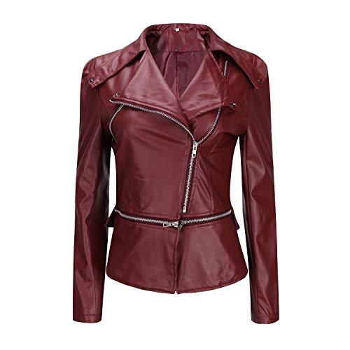 Kurze Kunstlederjacke, Damen, Reißverschluss, Motorradjacke, PU-Leder, Schwarz Gr. XXL, burgunderfarben