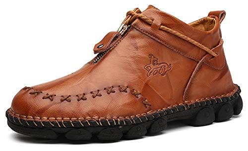Honeystore Men's Zipper Booties British Martin Boots High-top Leather Motorcycle Shoes Brown 8.5 D(M) US Men