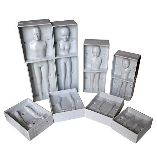 Menschen Form Fondant von Kurtzy -24 tlgs. Kunststoff Vollstandiges Familien Set Mit 4 Groben - Mann, Frau und 2 Kinder - Anweisungen Enthalten - Fur Anfänger und Profis