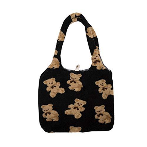 Lowral Women Lamb Like Fabrics Shoulder Tote Bag, Canvas Fluffy Fur Bear Handbags