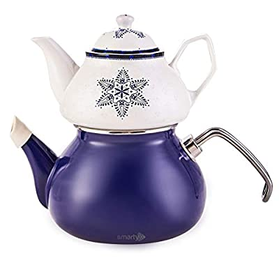 Porcelain Enamel Turkish Teapot - Nostalgic Retro Design Samovar Kettle Midi Size 1.1 Lt (Navy Blue)