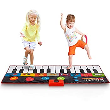 Abco Tech Giant Piano Mat - Jumbo Floor Keyboard with Play Record Playback and Demo Modes - New Look - 8 Different Musical Instruments Sound Options - 70in Play Mat - 24 Keys  Colorful