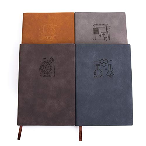 Pacote com 4 cadernos/cadernos largos pautados A5 – Fanery Sue 180° caderno para escrever em couro sintético grosso com 200 páginas, cores assotadas (tema de assunto)
