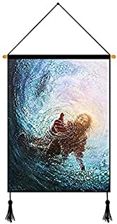 Home Decor the Hand of God Painting Jesus Reaching into Water Picture Unframed Canvas Wall Art Ready To Hang 1826 Inches
