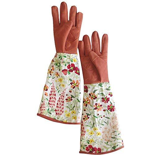HUCCYRE Gants de Jardinage Long Cuir imprimé Fleur gantelet pour Dames Rose Taille prolongée Poignets Thorn Perforation résistant à la Preuve léger jusqu'à ce Que Le coude protéger Les Bras