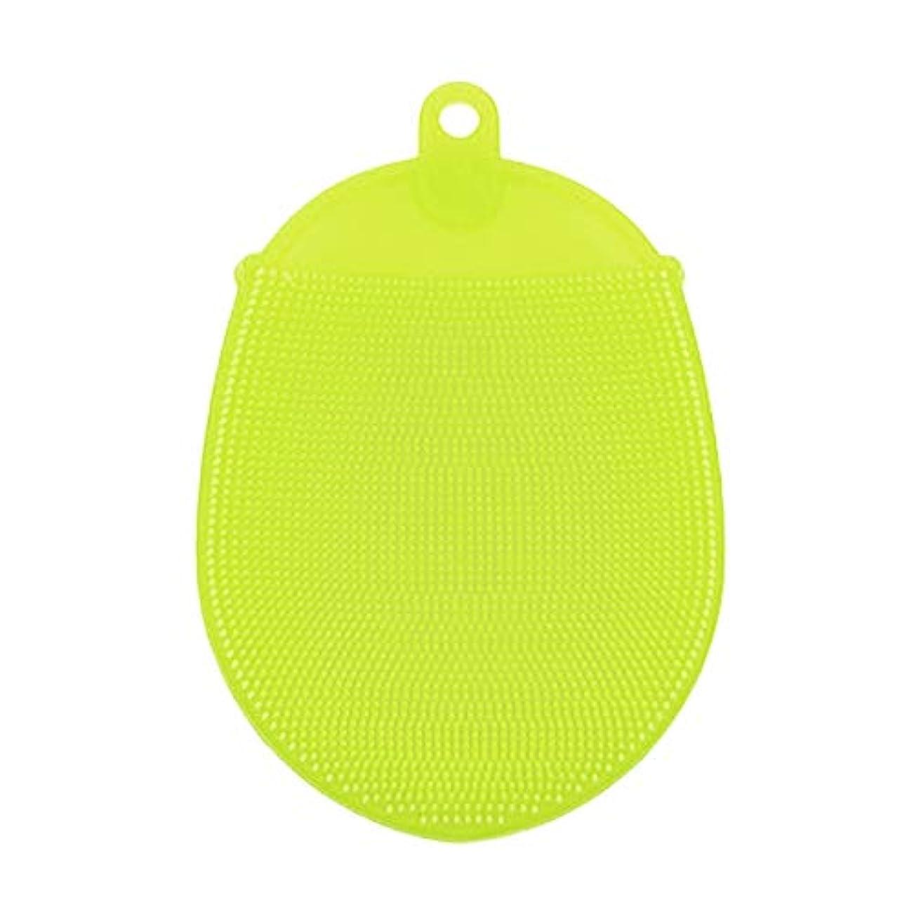 コジオスコ見捨てられたウサギバスウォッシュブラシマッサージシャワーソフトシリコンフェイシャルクレンジングパッドヘアフェイスエクスフォリエータークリーニングスクラバー (色 : 緑)