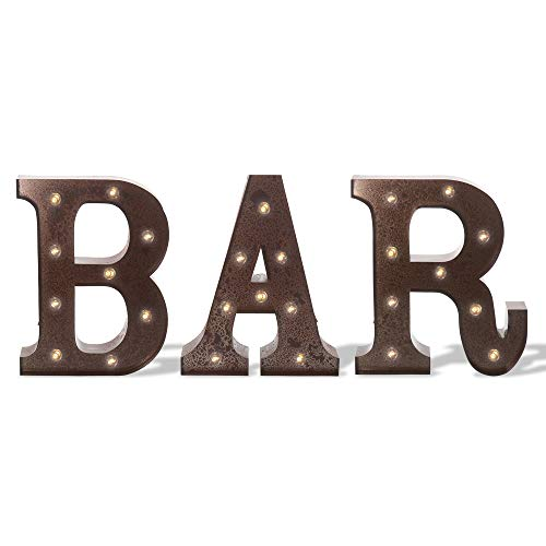 Barnyard Designs Metal Marquee BAR Sign Light Up Wall Decor: Wedding, Parties, Home and Bar Decoration 12' (RUST)