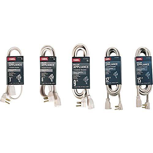 Cable de extensión para electrodomésticos Major, 14 AWG, 3 Conductores a Tierra, 6 pies, Color Beige, 125 voltios, 15 amperios, 1875 W, NEMA 5-15P/5-15R, Tipo SPT-3, Certificado...