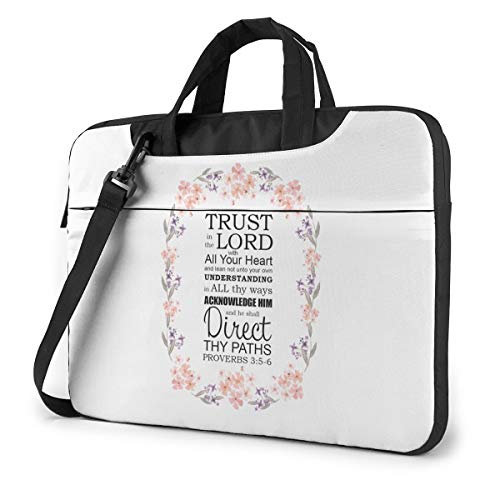 Christian Bible Verse Proverb Trust in The Lord Laptop Shoulder Messenger Bag, 14 Inch Notebook Sleeve Carrying Case with Trolley Belt for Lenovo Acer Asus Dell Lenovo Hp Samsung Ultrabook Chromebook
