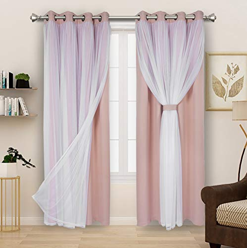 BONZER Mix and Match Blackout Curtains Grommet Double-Layered Curtains with White Sheer Voile for Living Room, Blush, 52x84 Inch, Set of 2 Panels