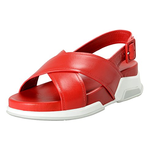 Prada Women's Red Leather Strappy Open Toe Sandals Shoes Sz US 9.5 IT 39.5