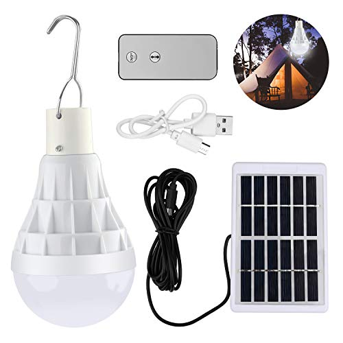 Solar Glühbirne, TechKen Solarlampe LED Licht mit Fernbedienung, tragbare Solar Panel Beleuchtung für Camping Outdoor Außen Gartenhaus (Solar Glühbirne 1 Pack)
